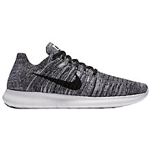 Buy Nike Free RN Flyknit Men's Running Shoes, White/Black Online at johnlewis.com