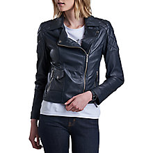 Buy Barbour International Sherco Leather Jacket, Navy Online at johnlewis.com