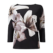 Buy Phase Eight Daria Digital Floral Top, Black Online at johnlewis.com