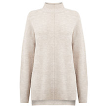 Buy Oasis High Neck Knitted Jumper, Mid Neutral Online at johnlewis.com