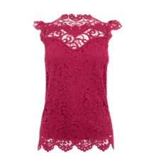 Buy Oasis Lace Trim High Neck Top, Burgundy Online at johnlewis.com