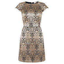 Buy Oasis Warner Thistle Jacquard Skater Dress, Gold Online at johnlewis.com