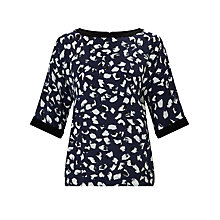 Buy Kin by John Lewis Animal Print Blouse, Navy Online at johnlewis.com