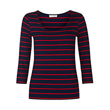 Buy Hobbs Sophie Stripe Top, French Navy/Red Online at johnlewis.com