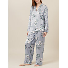 Buy Hobbs Bloom Print Silk Pyjama Set, Grey Online at johnlewis.com
