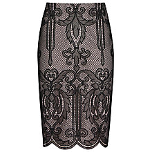 Buy Reiss Elaine Lace Skirt, Black/Almond Online at johnlewis.com