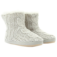 Buy Hygge by Mint Velvet Faux Fur Lined Knitted Slipper Boots, Grey Online at johnlewis.com