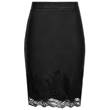 Buy Reiss Riviera Leather Lace Skirt, Black Online at johnlewis.com