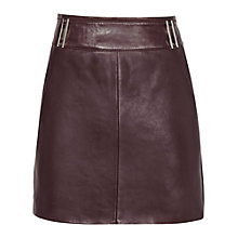 Buy Reiss Leather Vale Skirt, Garnet Online at johnlewis.com