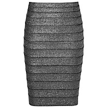 Buy Reiss Henna Panelled Pencil Skirt, Silver Metallic Online at johnlewis.com