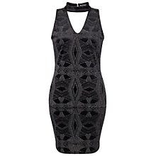 Buy Miss Selfridge Velvet Glitter Dress, Black Online at johnlewis.com