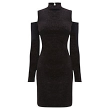 Buy Oasis Velvet Cut Out Shoulder Dress, Black Online at johnlewis.com