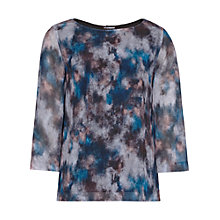 Buy Reiss Nettie Printed Button Back Top, Black/Multi Online at johnlewis.com