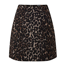 Buy Miss Selfridge Brushed Animal Print Skirt, Mid Brown Online at johnlewis.com