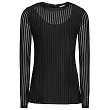 Buy Reiss Mell Textured Long Sleeve Top, Black Online at johnlewis.com