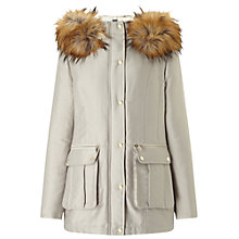 Buy Miss Selfridge Luxe Parka Coat, Light Grey Online at johnlewis.com
