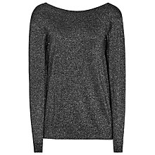Buy Reiss Luli Metallic V-Neck Jumper, Gunmetal Online at johnlewis.com