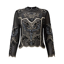 Buy Miss Selfridge Allegra Cropped Blouse, Black Online at johnlewis.com