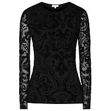 Buy Reiss Swift Burn Out Detail Top, Black Online at johnlewis.com