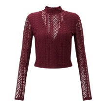 Buy Miss Selfridge Petite Lace High Neck Top, Burgundy Online at johnlewis.com