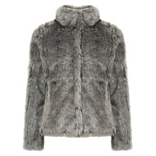 Buy Oasis Tilly Boxy Faux Fur Coat, Mid Grey Online at johnlewis.com