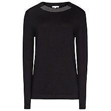 Buy Reiss Esta Embellished Neck Trim Jumper, Night Navy Online at johnlewis.com