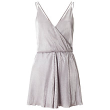 Buy Miss Selfridge Plisse Playsuit, Silver/Grey Online at johnlewis.com