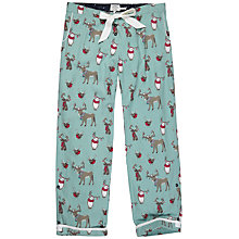 Buy Fat Face Animals With Antlers Print Classic Pyjama Bottoms, Aqua Online at johnlewis.com