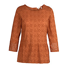 Buy Fat Face Millie Embroidered Peplum Top Online at johnlewis.com