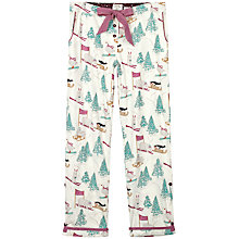 Buy Fat Face Festive Skiing Animals Print Pyjama Bottoms, Ivory Online at johnlewis.com
