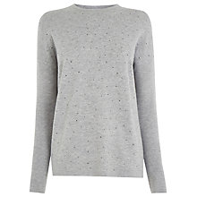 Buy Warehouse Stud Front Jumper, Light Grey Online at johnlewis.com