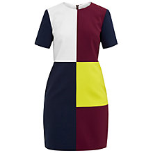 Buy Ted Baker Colour By Numbers Ardell Colour Block Dress, Maroon Online at johnlewis.com
