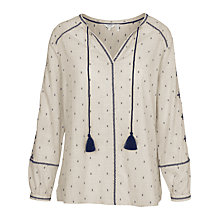 Buy Fat Face Tania Embroidered Popover Top, Light Grey Online at johnlewis.com