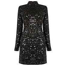 Buy Warehouse High Neck Sequin Dress, Black Online at johnlewis.com