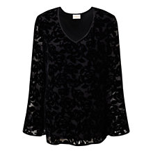 Buy East Rhiannon Devore Top, Black Online at johnlewis.com