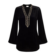 Buy East Velvet Beaded Long Sleeve Top, Black Online at johnlewis.com
