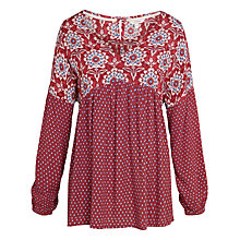 Buy Fat Face Beth Gypset Damask Blouse, Flame Online at johnlewis.com