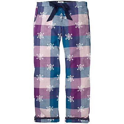 Fat Face Snowflake Jacquard Check Print Pyjama Bottoms, Fig