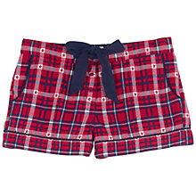 Buy Fat Face Mini Star Jacquard Check Pyjama Shorts,  Poinsettia Online at johnlewis.com