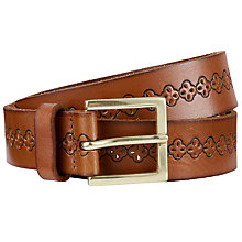 Buy John Lewis Louise Cut Out Flower Leather Jeans Belt, Tan Online at johnlewis.com