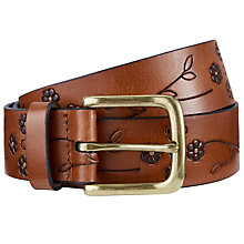 Buy John Lewis Lee Flower Embossed Jeans Leather Belt, Tan Online at johnlewis.com