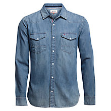 Buy Hilfiger Denim Long Sleeve Denim Shirt, Mid Indigo Online at johnlewis.com