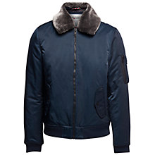 Buy Hilfiger Denim Justice Faux Fur Collar Bomber Jacket, Sky Captain Online at johnlewis.com