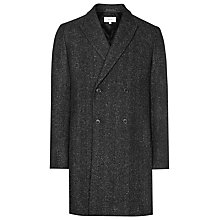 Buy Reiss Basset Herringbone Double-Breasted Overcoat, Black/White Online at johnlewis.com
