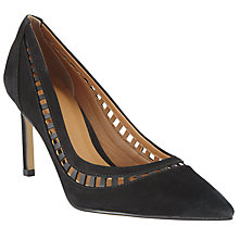 Buy John Lewis Adria Cut Out Stiletto Court Shoes, Black Nubuck Online at johnlewis.com
