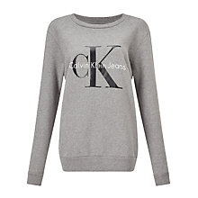 Buy Calvin Klein Printed Logo Sweatshirt, Light Grey Heather Online at johnlewis.com