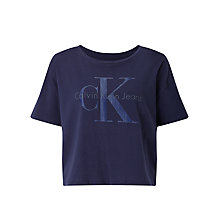 Buy Calvin Klein Teca Cropped Logo T-Shirt, Navy Blazer Online at johnlewis.com