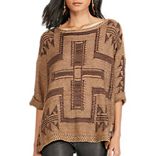 Buy Polo Ralph Lauren Southwestern Boxy Jumper, Tan Online at johnlewis.com