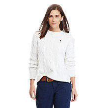 Buy Polo Ralph Lauren Boxy Cable Knit Jumper, White Online at johnlewis.com