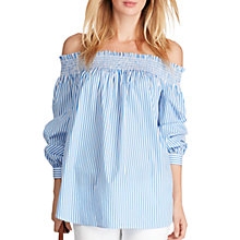 Buy Polo Ralph Lauren Striped Off Shoulder Top, Blue/White Online at johnlewis.com